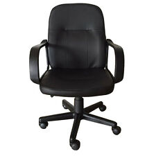 New Ergonomic Mid-back PU Leather Office Chair Desk Task Task Swivel Black US