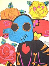 Sugar Skull Elephant, Day of the Dead Art 9x12 Inch Drawing on Paper, Artwork