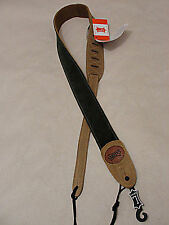 "LEVY'S MSS12CO  2"" WIDE SIGNATURE SUEDE COMBO LEATHER GUITAR STRAP GREEN & SAND"