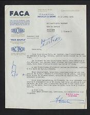 """NEUILLY-sur-SEINE (92) ALUMINIUM pour BATIMENT & CARROSSERIE """"F.A.C.A."""" en 1951"""