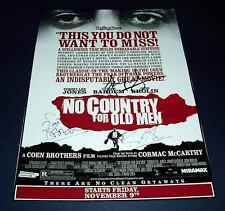 NO COUNTRY FOR OLD MEN CAST x3 PP SIGNED POSTER 12X8