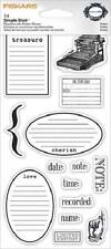 FISKARS Simple Stick NOTES Rubber Cling Stamps JOURNAL TREASURE CHERISH LOVE