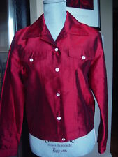 Tunique Nights Jacket Size Small Red silk long sleeves button front H-7