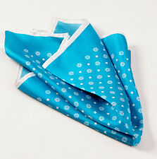 New $215 KITON NAPOLI Peacock Blue-White Floral Medallion Silk Pocket Square