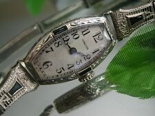 Ladies Art Deco 20K Sapphire Hamilton Watch ~ Anne Kline Filigree Band ~18K~14K