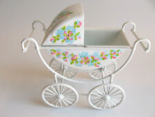 dollhouse doll house miniature WHITE BABY CARRIAGE BUGGY