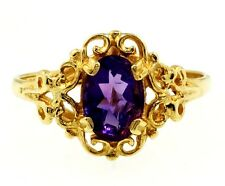 9Ct Yellow Gold Celtic Patterned Amethyst (5x7mm) Solitaire Ring (Size M 1/2)