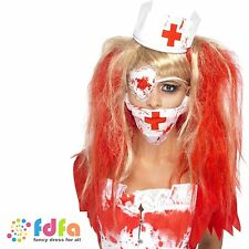 ZOMBIE BLOODY NURSE KIT MASK HAT & EYEPATCH - ladies womens fancy dress costume