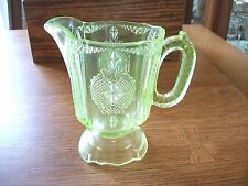 Antique Green Depression Vaseline Glass Small Pitcher Creamer