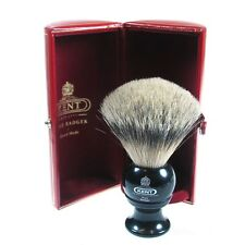 Kent BLK4 Shaving Brush Pure Badger Silver Tip BLACK Handle MEDIUM Sized Bristle