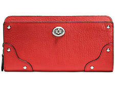 NWT Coach Mercer Accordion Zip Wallet Carmine Red Grain Leather 53882 Gift Rct