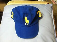 POLO RALPH LAUREN MENS NEW BLUE 100%COTTON BASEBALL CAP BIG PONY ONE SIZE