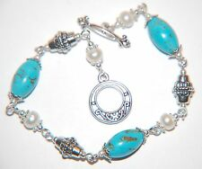 Dainty TURQUOISE Gemstone & Freshwater PEARL Tibetan Silver Linked Bracelet