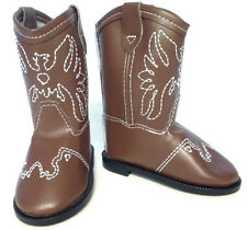 "Brown w/Eagle Accent Cowboy Boot Shoes made for 18"" American Girl Doll Clothes"