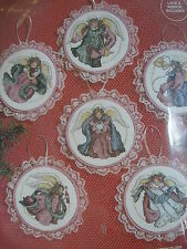 Holiday Angels Ornaments cross stitch kit Janlynn set of 6 lace ribbon felt