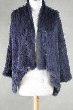 NEW COLOR ARRIVAL! 100% RABBIT FUR SWING LONG SLEEVE JACKET NAVY FREE SIZE