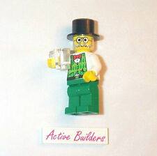 Lego Minifig Irish Man in Vest Bow Tie Round Hat and His Beer Glass