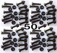 50 CAR NUMBER REGISTRATION PLATE BLACK FIXING  NYLON SCREWS BOLTS AND NUTS NEW