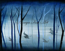 Flying Witches Halloween Art Decoration - Silhouette Pagan Witch Forest Painting