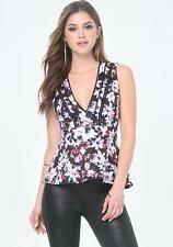 BEBE FLORAL PRINTED DEEP V NECK LACE TRIM PEPLUM NEW NWT TOP SHIRT SMALL S