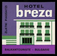 BREZA Hotel old luggage label ZLATNI PIASSATZI Bulgaria