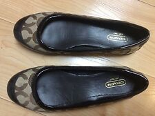 COACH Women's Size 6 Brown Textile Patent Leather Signature Brown Shoes Flats
