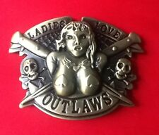 LADIES LOVE OUTLAWS SKELETON SKULL AND CROSSBONES SEXY LADY BIKER BELT BUCKLE