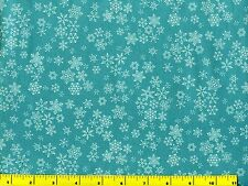 Small White Snowflakes on Teal Christmas Quilting Fabric by Yard  #3166