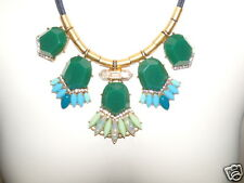 NWT J. Crew Mixed Media Gemstone Statement Chord Necklace Green Blue NEW