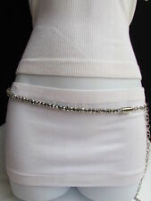 "Women High Waist Hip Metal Chains Round Silver Beads Fashion Belt 31""-44"" M L XL"