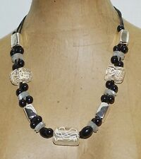 "Chico's Chunky Black White Silver White Lucite Beads 26"" Statement Necklace"
