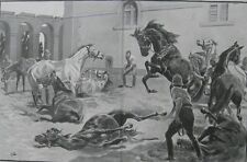 1898 Two Large Antique Prints - Battle of Omdurman, Sudan - 21st. Lancers Horses