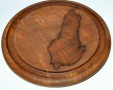 "Teak Cheese Cutting Board. 7 1/4"" Across."