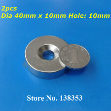 2pcs Rare Earth Neodymium Disc Ring Magnet N52 40mm x 10mm Countersunk Hole 6mm