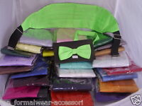 Any Pre-tied Polyester Bow tie and Cummerbund Set 60 Colours   P&P 2UK 1st Class