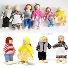Cute 6 Dolls Wooden Furniture Set Doll House Family People Kid Education Toys BF