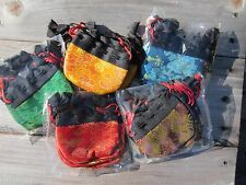 WHOLESALE LOT 5 SATIN BROCADE TIBETAN BUDDHIST MALA BAGS JEWELRY GIFT BAG NEPAL