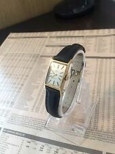 OMEGA LADIES VINTAGE GENEVE BLACK LEATHER WOMENS WATCH & OMEGA BOX NO RESERVE
