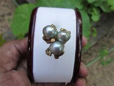 Vintage 14k Solid Gold Baroque Pearl Ring 10mm Pearls  Size (6)   8 Grams