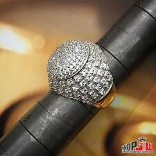 Gold Finish .925 Silver Simulated Diamond Ring Size 7 Fancy Design Two Tone Dome