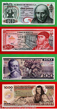 RARE Set of 4 Mexican Notes 10, 20, 100 & 1000 Pesos,UNC & aUNC + 6 Free Bonuses