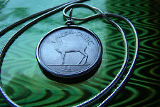 "Irish Reindeer Celtic 33mm Coin Pendant 24"" White Gold Filled Round Snake Chain"