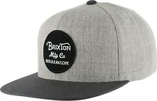 Brixton Wheeler Snapback Cap in Light Heather Grey Charcoal Brand New with Tag