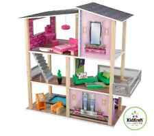 Large Girls Modern Dollhouse 20 Piece Furniture Set Wooden Doll House Toy Condo