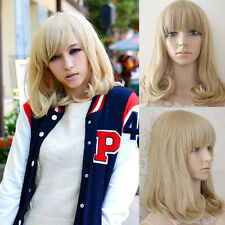 Women's Medium Long Wavy Curly Full Wig Hair Blonde Mixed Synthetic Wigs Cosplay