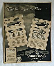 1943 GOODYEAR AIRCRAFT ad page ~Trail Blazing in the Skies ~ WWI Airship Blimps