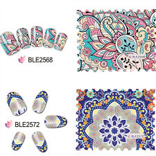 11X 3D NAIL ART STICKERS DECALS TRANSFER WHITE WATER FLOWERS GEM SILVER GLITTER