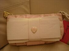 NEWWT  BETSEY JOHNSON WRISTLET WALLET PURSE BLUSH  PINK BONE BOW BE MINE BR22240