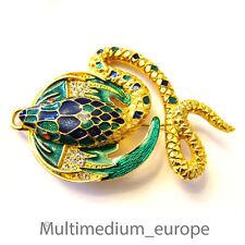 Modeschmuck Brosche Emaille vergoldet Schlange vintage enamel brooch snake sign.