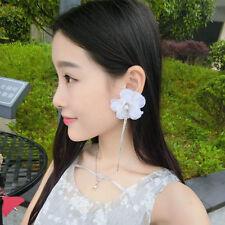 Women Big White Flower Dangle Earrings Rhinestone Tassel Extra Long Drop Earring